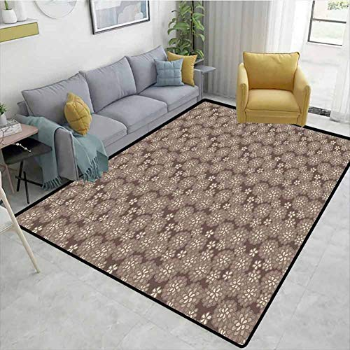Read About Beige natural fiber Area Rug for Baby Nursery, Floral Lace Pattern Abstract Romantic Bouq...