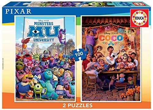 Educa- Pixar: Coco y Monsters University 2 Puzzles Infantiles de 100 Piezas, a Partir de 6 años (18635)