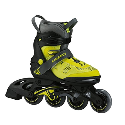 Firefly Kinder Inline Skate FF Comp ADJ Jr Inlineskates, Yellow/Grey/Black, 37