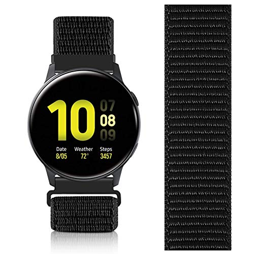 AVOD 20mm Nylon Sport Quick Release Bands Compatible with Garmin vivoactive3/Forerunner 645/Galaxy Watch 42mm Bands/Active2 44mm 40mm (Dark Black, 20mm)