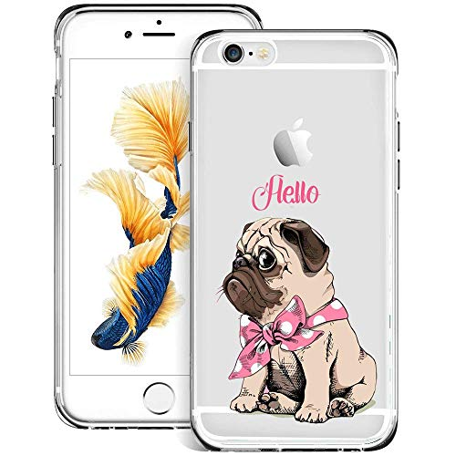 jacbob iPhone 6s 6 Case Pink Pug iPhone 6s 6 Case Pink Pug Anti-Scratch Soft Durable TPU Silicone Mobile Phone Case for iPhone 6s 6