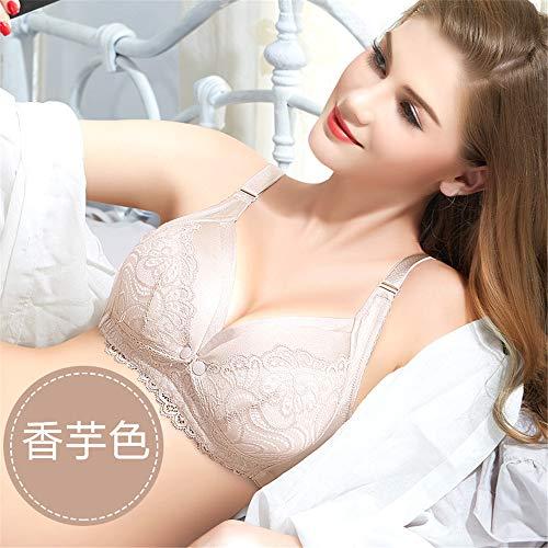 Sujetador de lactancia recolectado para prevenir la flacidez de la lactancia materna antes de abrir el botón Forro de algodón Sujetador de encaje Sin llantas Ropa interior de mujer embarazada 6 90D