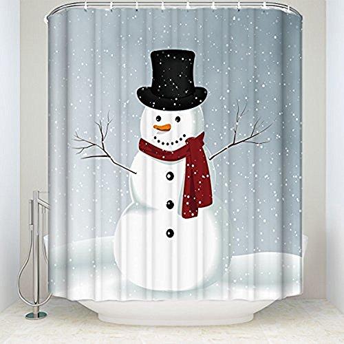 Duschvorhang mit Schneemann-Motiv, wasserdicht, Polyester, Blau / Rot / Weiß 72