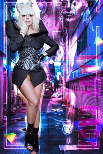 Lady Gaga - Cuaderno de páginas a rayas, tamaño pequeño, 15,2 x 22,8 cm, 110 páginas, diseño original para portadas y páginas, se puede utilizar como cuaderno, diario, diario...