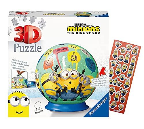 Ravensburger 11179 - Puzzle 3D Minions, 72 pezzi + adesivi Minion, palla puzzle per i fan dei Minions, a partire dai 6 anni