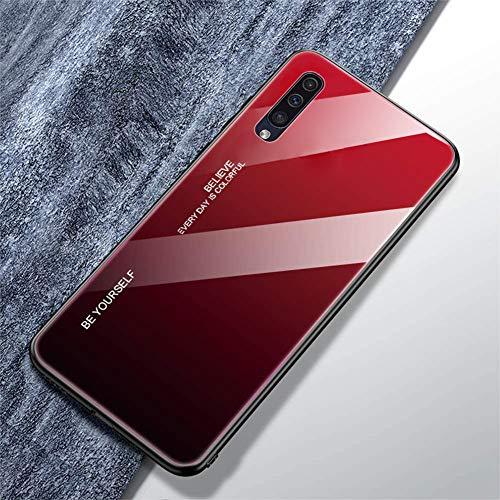 Urhause Compatible con Funda Samsung Galaxy A50 Carcasa Trasera Case Vidrio Templado Degradado Color Cubierta Ultradelgado Anti-Rasguño Funda Protección 360 Grados Rígido Dura Bumper,Negro Rojo