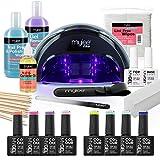 Mylee The Full Works - Set para manicura, 8 esmalte de uñas gel MYGEL, top & base coat, lámpara de curado LED PRO Mylee, preparación y toallita, removedor de gel (Primavera/Verano - Lámpara negra)