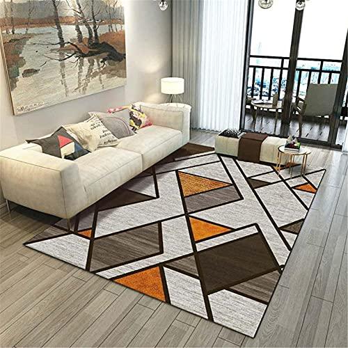 WCCCW Gris-Naranja patrón geométrico Simple Abstracto cálido antiincrustante Accesorios de hogar sofá Corredor Decorativo alfombra-50x80cm Suave Moderna Alfombra Antideslizante Alfomb