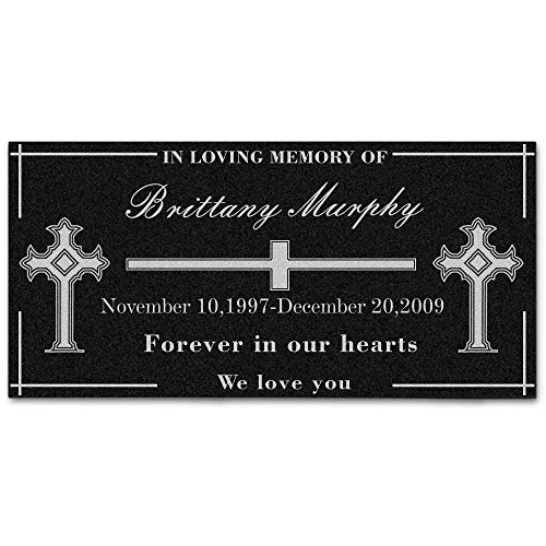 BASHERRY Custom Marble Tombstone Custom Name Date to Commemorate Memorial Stone of Your Loved One ,Cemetery Marker Headstone Monument (12L×6W, Cross)