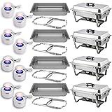 Chafing Dish Buffet Set — Folding Frame + Water Pan + Food Pan (8 qt) + 2 Fuel Holders - 4 Full Warmer Kit