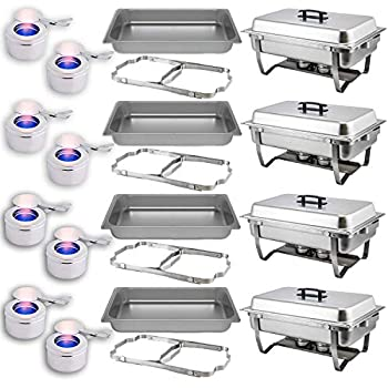 Chafing Dish Buffet Set — Folding Frame + Water Pan + Food Pan  8 qt  + 2 Fuel Holders - 4 Full Warmer Kit