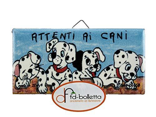 fd-bolletta arredamento e illuminazione Mattonella Ornamentale attenti ai Cani da Appendere in Ceramica Stampata c9 Misure: Altezza 5cm,Larghezza 10cm, Spessore 0,6cm.