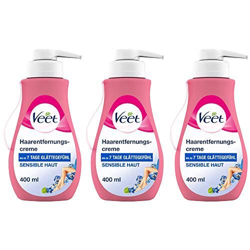 Veet Sensitive Haarentfernungscreme – Schnelle & effektive Haarentfernung für seidig-glatte Haut – Anwendungszeit 5-10 Minuten – 400 ml Spender mit Spatel (3 x 400ml)
