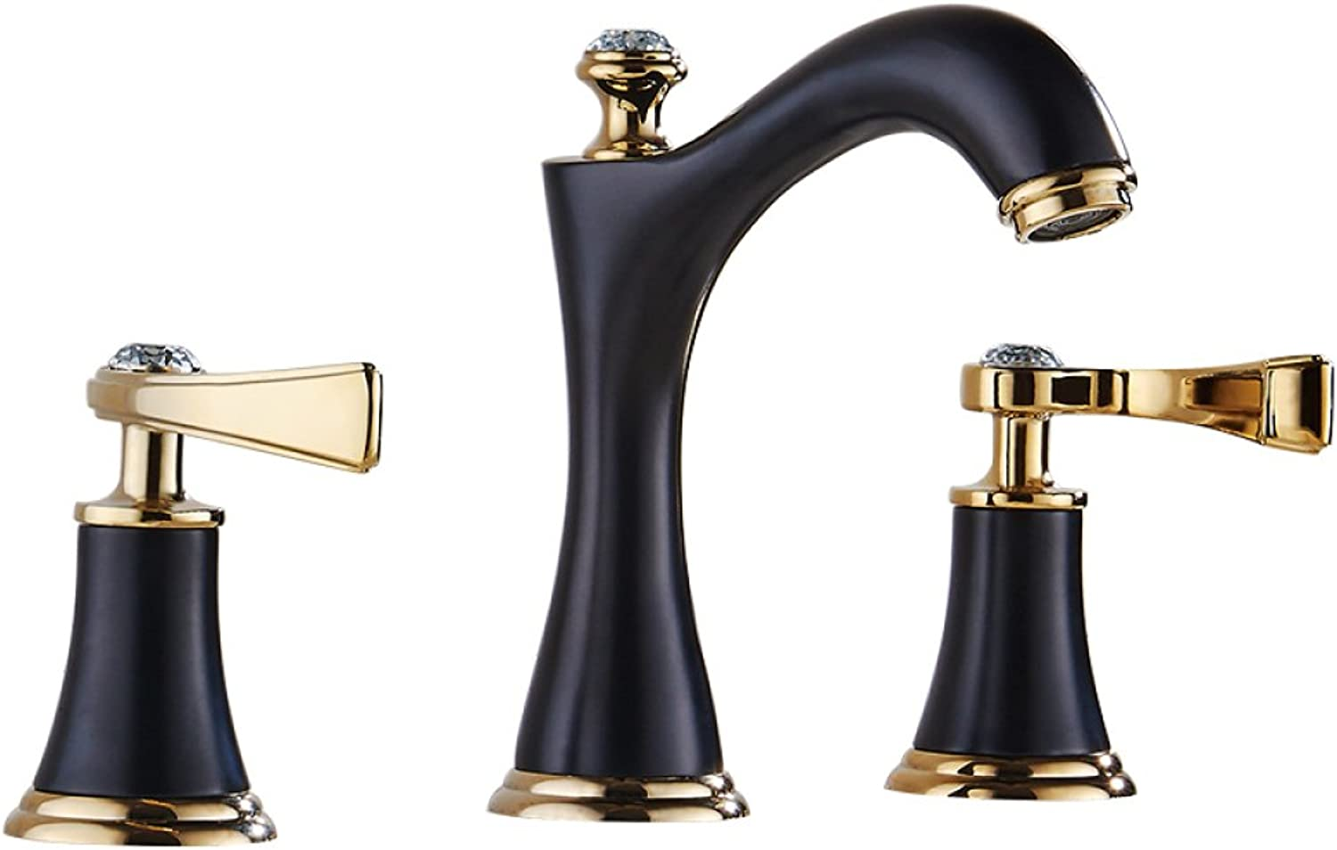 Bathtub Tap, Three-Hole Washbasin, Hot and Cold, European Bath with Double Divided Handle, Three Pieces,Black
