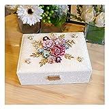 LEIKEI Reloj Joyero 2 Capas Flores 3D Cuero de PU Exhibidor de Almacenamiento de Joyas con Compartimentos de Espejo Los Mejores cumpleaños para niñas,White-23.5 * 17 * 8cm