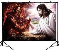 GooEoo 9×6FTシームレス神と悪魔のテーマカスタムビニール写真の背景の背景スタジオの小道具PGT070B