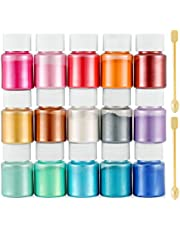 Funxim epoxyhars kleur 15x10g, zeepkleur set metallic kleur harskleur, Mica Poeder Pigmenten Poeder voor Zeep Hars Gegoten Hars Slijm Schilderij DIY