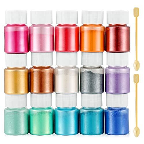 Funxim Epoxidharz Farbe 15er×10g, Seifenfarbe Set Metallic Farbe Resin Farbe, Mica Powder Pigmente Pulver für Seife Kunstharz Gießharz Malerei DIY