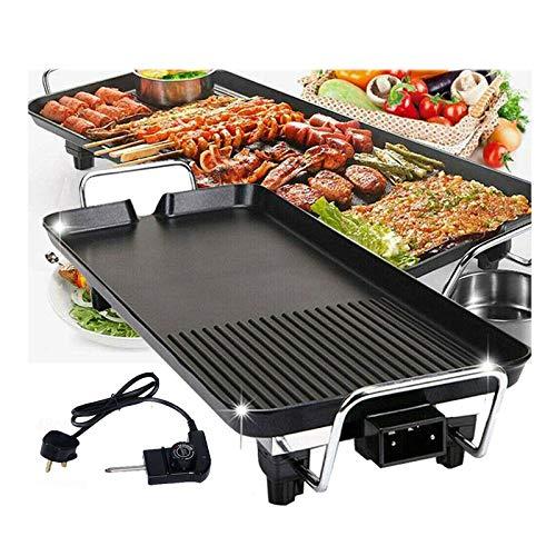 Elektrogrill 2 in 1 Teppanyaki Tischgrill elektrisch Antihaftende Grillplatte, Verstellbarer Temperaturregler 1500W Ideal als Geschenk & für die Party, 67x29.5x8.5cm Teppanyaki-Grill