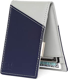 F&H Signature Slim RFID Money Clip Wallet in Top Grain Leather (Navy/Stone)