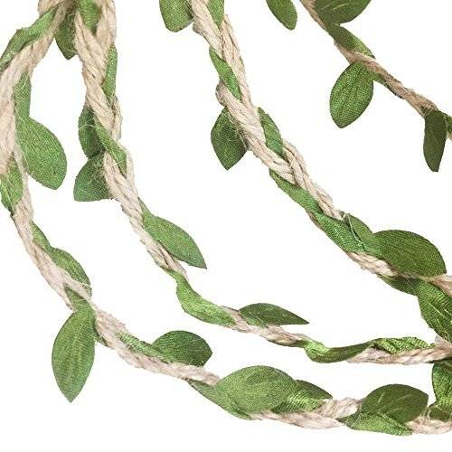 MF2FLAY 33 Feet Natural Jute Twine, Creative Burlap Leaf Ribbon 5MM with Artificial Green Leaves, Perfect Braided Decorated Vine for Art & Crafting Home Packing Decoration and any Party Décor (1 PCS)