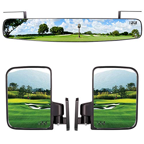 """10L0L9.99WORLD MALL Newest Golf Cart Wide Rear View Convex 16.5"""" Extra Wide 180 Degree Panoramic and Universal Folding Golf Cart Side View Mirrors Combo for Club Car EZ-GO Yamaha and Others"""