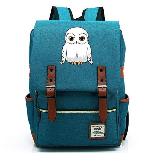 MMZ Teenage Casual Harry Potter Backpack Unisex owl School Bag Notebook Bag Retro Hiking Backpack Large Ocean Blue