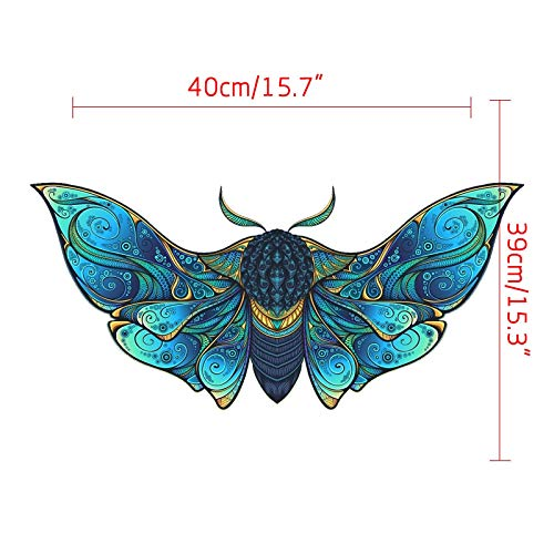 N / N Jigsaw Puzzle Wooden 5mm Thick Butterfly Wooden Puzzle Toy Laser Cutting Craft Children's Puzzle 290 Pieces, Animal Shaped Jigsaw, Gifts for Mom Dad Toys, Gift for Friend