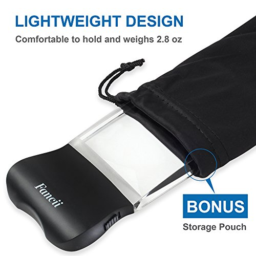Fancii LED 2X großes rechteckiges Leselupe Handlupe mit Licht – 102 x 58 mm randlose unverzerrte Lupe mit Beleuchtung geeignet für Senioren, zum lesen von Büchern, Magazinen, Zeitungen und Landkarten - 5