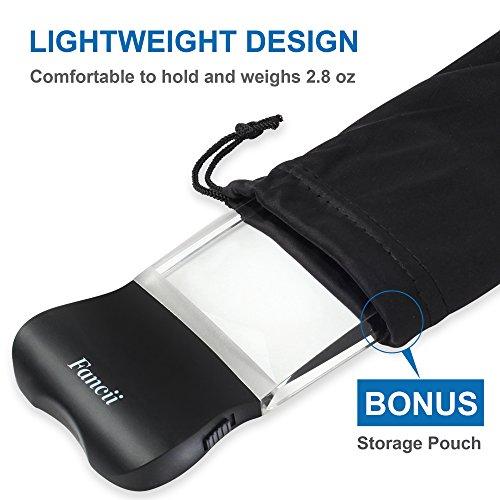 Fancii LED 2X großes rechteckiges Leselupe Handlupe mit Licht – 102 x 58 mm randlose unverzerrte Lupe mit Beleuchtung geeignet für Senioren, zum lesen von Büchern, Magazinen, Zeitungen und Landkarten - 6