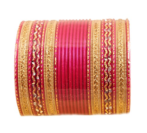 Touchstone New Colorful 2 Dozen Bangle Collection Indian Bollywood Alloy Metal Textured Hot Pink Golden Designer Special Large Size Bangle Bracelets Set of 24. in Antique Gold Tone for Women
