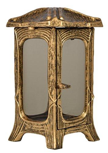 Paul Jansen Grablaterne eckig mit getönten Glasscheiben und aufliegendem abstrakten Kreuz Höhe 23 cm, braun/gold