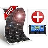 DOKIO フレキシブル 単結晶 ソーラーパネル/太陽電池 50W-12V バッテリー充電用 防災用品 車中泊 PWM充電 10Aチャージャーコントローラー付き