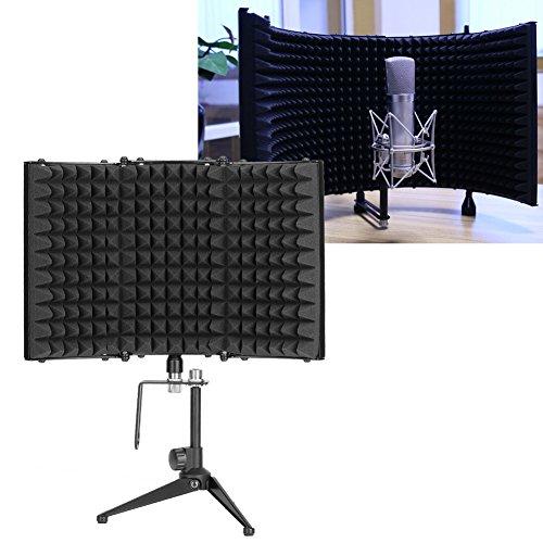 Verstellbares faltbares Mikrofon-Isolationsschild für Studio-Mikrofon, Schalldämmung mit Halterung, 33 x 21 cm