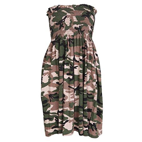 Damen Trägerloses Bandeau-Kleid Top Jersey Damen Übergröße Boobtube Top Dress UK 8-22 Gr. 42/44, army