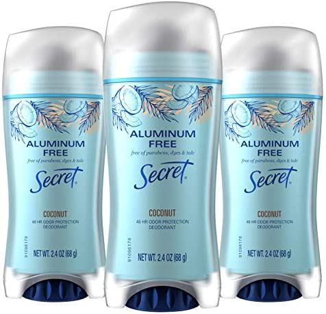 Secret Aluminum Free Deodorant for Women Coconut Scent Invisible Solid 2 4 Oz Pack of 3 product image