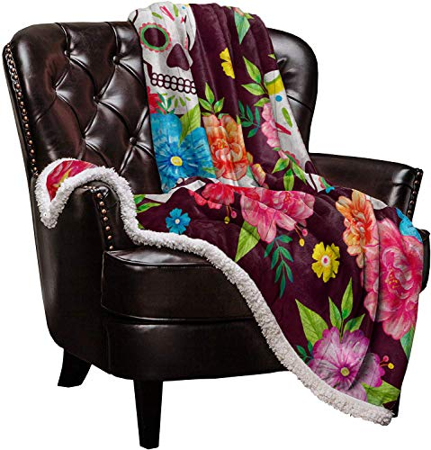 Warm Soft Fleece Throw Blanket, Mexico Style Skeleton Colorful Flowers - Cozy Plush Lightweight Blanket | Winter Couch Bed Sofa Decorative Microfiber Fleece Throws, 39' x 49'