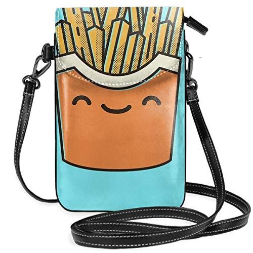 Smiley Pommes Frites Leichte Kleine Crossbody-Taschen Handy Geldbörse für Frauen Mädchen mit praktischem Tragen