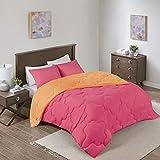 Comfort Spaces Vixie Comforter Set-Modern Geometric Quaterfoil Cloud Quilted Design All Season Down Alternative Bedding, Matching Shams, Twin/Twin XL(66'x90'), Microfiler Reversible Pink/Orange