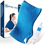 Electric Heating Pad for Pain Relief - Saferell Fast-Heating Pad for Back & Cramps, XL Size 12' x 24' with Ultra-Soft Moist/Dry Heat Therapy, 6 Temperature Settings & Auto Shut-Off