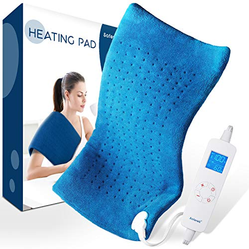 Electric Heating Pad for Pain Relief  Saferell FastHeating Pad for Back amp Cramps XL Size 12quot x 24quot with UltraSoft Moist/Dry Heat Therapy 6 Temperature Settings amp Auto ShutOff