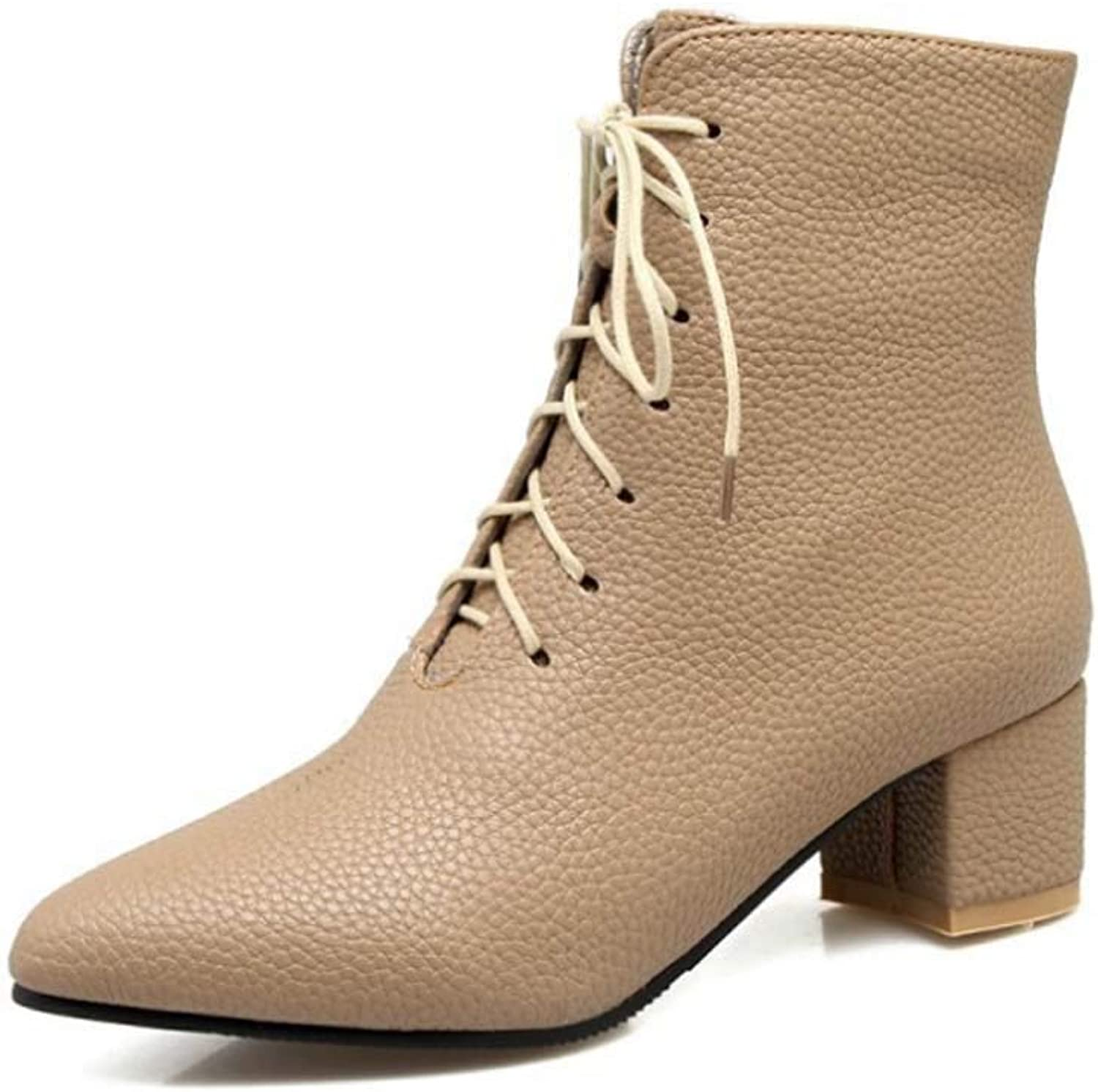 Women Faux Leather Boots Winter Thick Heel Ankle Boot Heel Pointed Boots Lace Up High Block Heel Work Vintage Brogue Fashion Ankle shoes
