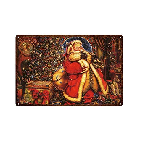 yuandp Christmas Halloween Pumpkin Santa Claus and Elk Tin Sign Vintage Metal Poster Art Painting Home Kitchen Decoration Metal Sign Decoration 20x30cm 12