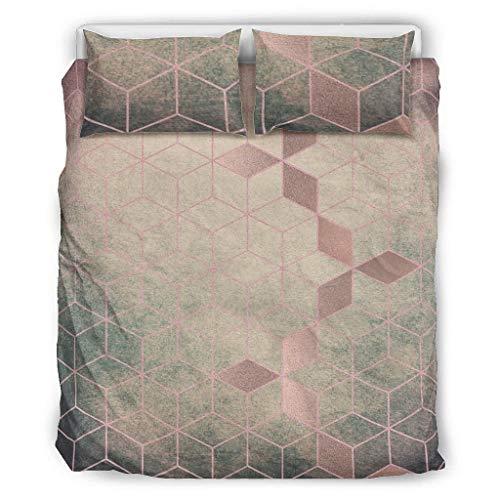 Generic Branded 3-Piece Vintage Gradient Grid Bedspread Cover Vantage Duvet Covers - Modern Art Soft Bedspread White 264 x 229 cm