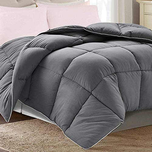 Brermer Soft Queen Goose Down Alternative Comforter, All Seasons Puffy Warm Duvet Insert with 8 Corner Tabs, Luxury Reversible Hotel Collection, 88'x 88', Grey
