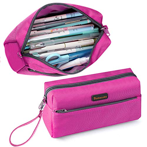 Homecube Pencil Case Cosmetic Bag Student Stationery Pouch Bag Office Storage Organizer for Adults Men Women, Large Capacity, Double Zippers - Red