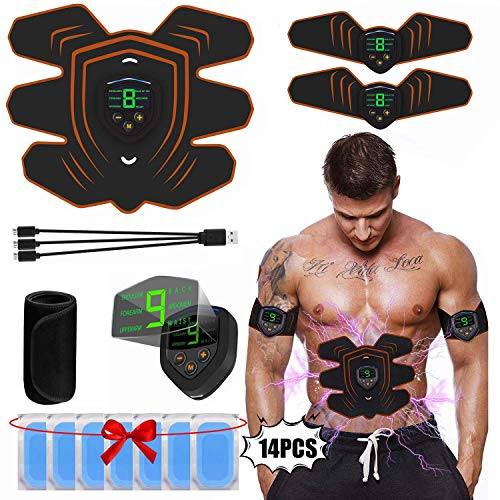 CHUTD Muscle Stimulator, Home Abdominal Muscle Trainer, ABS Stimulator Muscle Toner, Abdominale Toning Belt Muscle Smart Body Trainer, USB Oplaadbare LCD Display 6 Modi & 9 Niveaus Draadloos Portab