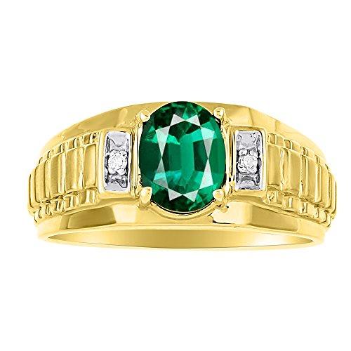 Para hombre simulado verde esmeralda y diamante anillo 14K oro amarillo banda papel x diseño