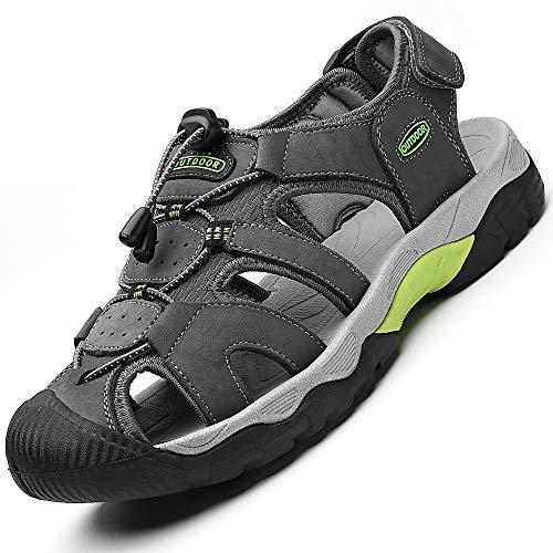 Rokiemen Sandalias de Cuero al Aire Libre de Los Hombres Verano Playa Senderismo Zapatos Trekking Casual Zapatos de Montaña