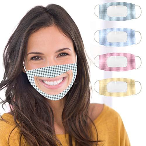LILIGOD 4 Stück Erwachsene Mundschutz Face Cover, Transparente, Atmungsaktive Staubschutz, Speziell für Gehörlose, Bandana Sommerschal, Wiederverwendbar